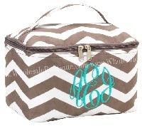 Taupe Chevron Makeup Bag